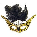 Grand Gala Mask - Black/Gold Trim