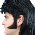 Black 70's Human Hair Sideburns