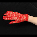Red Short Lace Gloves