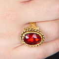 Ornate Gold Ring w/ Red Stone