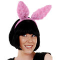Bunny Fluffy Dark Pink Ears on Headband