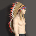 Red Indian Headdress Long Feather Native American Indian