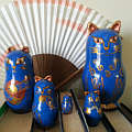 Blue and Gold Cat Nesting Dolls Babushka Matryoshka Set of 5