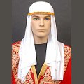 White Arabian Hat w/ Gold Trim