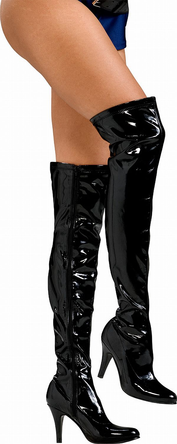 Spiky Black Thigh High Boots - Click Image to Close