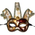 Jolly Gold & Red Masquerade Mask