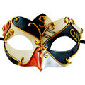 Fabio Black/Orange/Cream Masquerade Eye Mask
