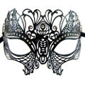 Peacock Black Metal Masquerade Mask