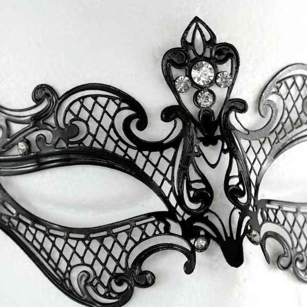 Amelia Black Metal Masquerade Mask