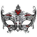 Champagne Black Metal Masquerade Mask w/ Red Crystals