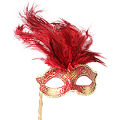 Josephine Red Masquerade Mask w/ Stick
