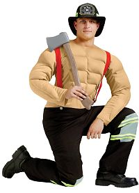 Pin Up Fireman Adult Costume (Medium)