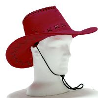 Leather Look Red Cowboy Hat