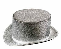 Silver Tinsel Top Hat