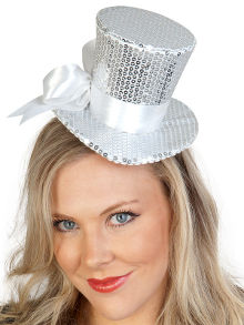Deluxe Silver Mini Top Hat