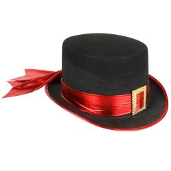 Black Top Hat w/ Red Band