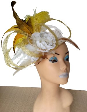 Alex White/Yellow Pillbox Designer Hat