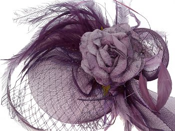 Angelique Purple Rose Fascinator