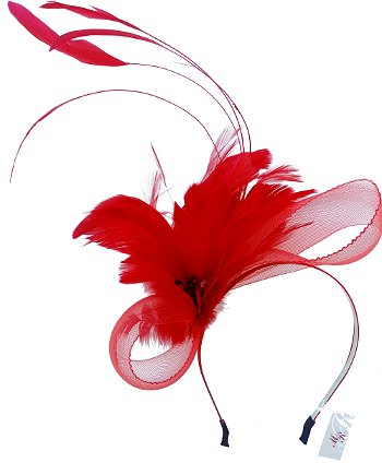 Charlotte Red Feather Headband
