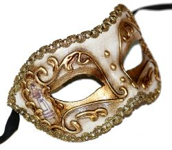 Colombina Commedia Oro Masquerade Mask