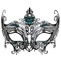 Champagne Black Metal Masquerade Mask w/ Teal Crystals