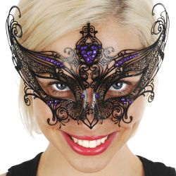 Champagne Black Metal Masquerade Mask w/ Purple Crystals