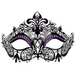 Marianna Black Metal Masquerade Mask w/ Purple Crystals