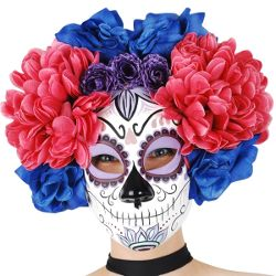 Sugar Skull Pink & Blue Flowers Mask