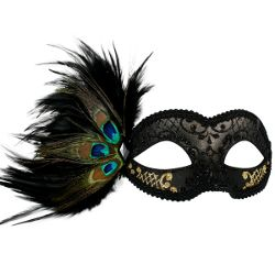 Adrianna Black & Gold Masquerade Mask