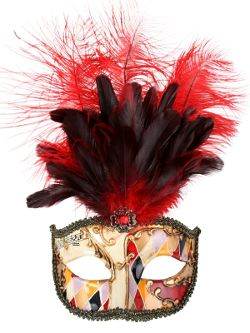 Allegra Gold & Red Masquerade Mask