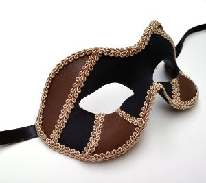 Black/Brown Male Masquerade Mask