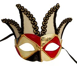 Black/Red Jester Masquerade Mask