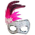 Silvana Pink Feather Mask
