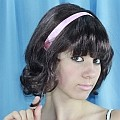 Hairspray Brown Curly Wig w/ Pink Ribbon