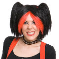 Pansy Red & Black Wig